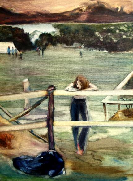 Le veau, 105 cm x 50 cm, huile sur toile, 2013, Paris, peinture contemporaine, portrait hocney, davidsalle, ericfischl, fauve, Woodstock