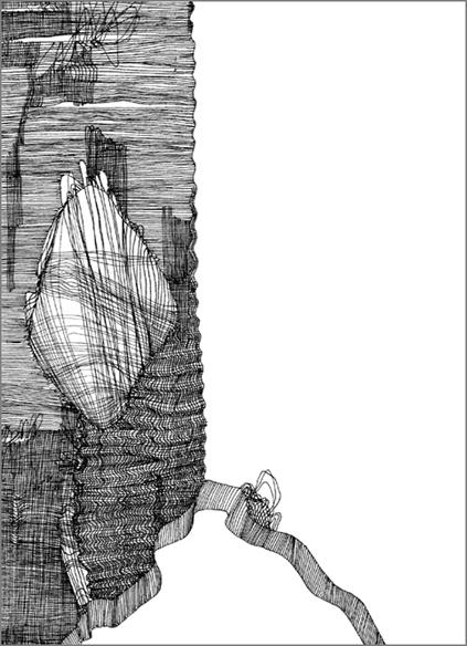 """""""Le vieux pull gris"""", encre de Chine sur papier, 14 cm x 21 cm, 2009, Paris"""