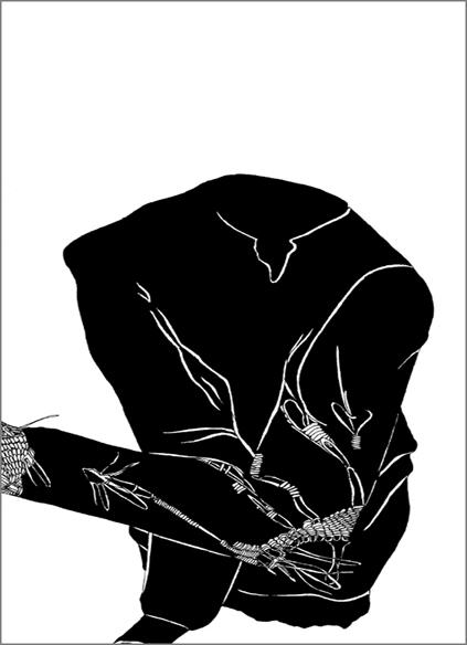 """""""Le vieux pull noir"""", encre de Chine sur papier, 14 cm x 21 cm, 2009, Paris"""