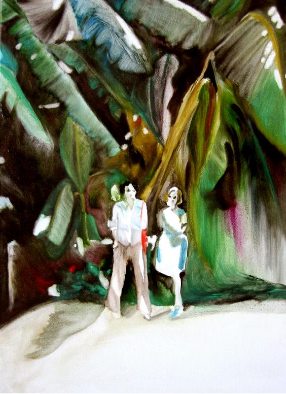 Les amies, 50 cm x 36 cm, huile sur toile, 2013, Paris, peinture contemporaine, portrait hocney, davidsalle, ericfischl, fauve