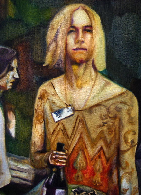Les invités, détail 190 cm x 110 cm, huile sur toile, 2013, Paris, peinture contemporaine, portrait hocney, davidsalle, ericfischl, fauve, woodstock