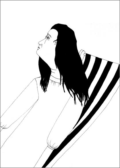 """""""Lounge"""", encre de Chine sur papier, 14 cm x 21 cm, 2009, Paris"""