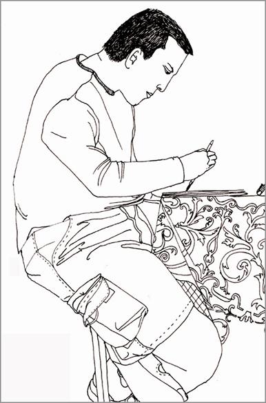 """""""Mathias dessine à Essaouira"""", encre sur papier, 30 cm x 30 cm, 2007, Essaouira"""