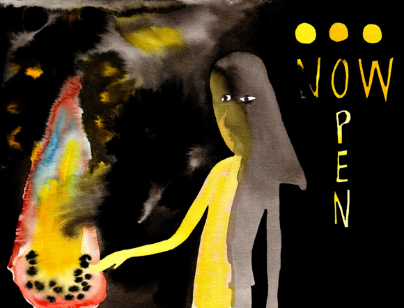 """Now open Christiania"", aquarelle, 20 cm x 30 cm, 2009, Paris"