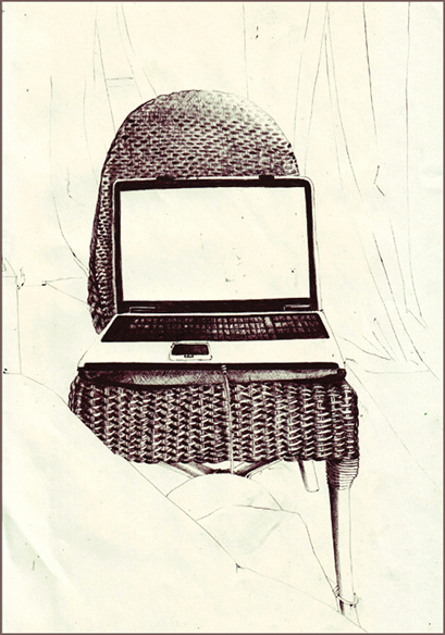 """""""PC la chaise"""", dessin au stylo, 21 cm x 29,7 cm, 2008"""