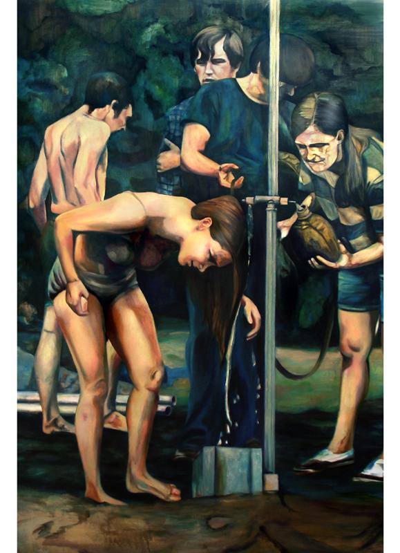 Shower, 190 cm x 110 cm, huile sur toile, 2013, Paris, peinture contemporaine, portrait hocney, davidsalle, ericfischl, fauve, woodstock