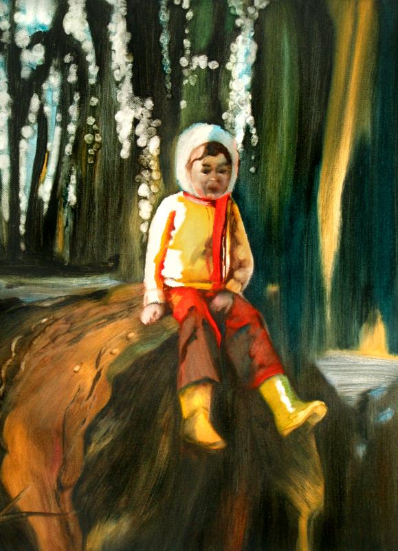 Sur la tete du grand rocher, 50 cm x 36 cm, huile sur toile, 2013, Paris, peinture contemporaine, portrai thocney, davidsalle, ericfischl, fauve