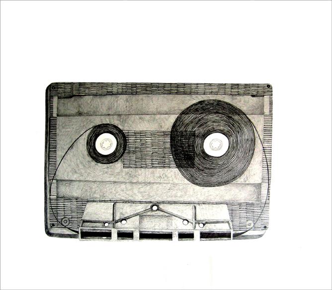 """""""VU"""",mine de plomb sur papier, 60 cm x 40 cm, 2009, Paris"""