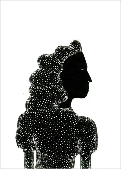"""""""Zora jeune"""", encre de Chine sur papier, 14 cm x 21 cm, 2009, Paris"""