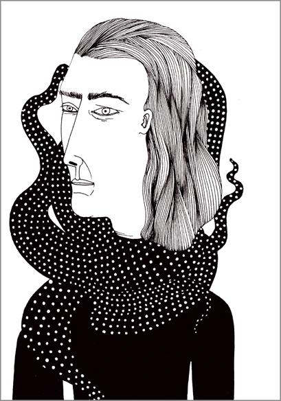 """""""La séparation"""", encre de Chine sur papier, 14 cm x 21 cm, 2009"""