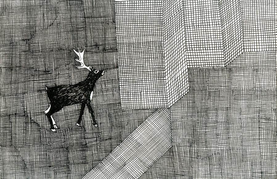 """""""Cerf à Seattle"""", encre de Chine sur papier, 14 cm x 21 cm, 2009, Paris"""