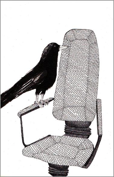 """""""Corbeau des annés 80"""", encre de Chine sur papier, 14 cm x 21 cm, 2009, Paris"""