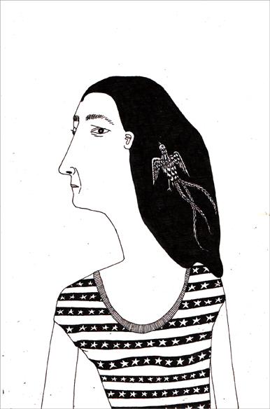 """""""Hear"""", encre de Chine sur papier, 14 cm x 21 cm, 2009, Paris"""