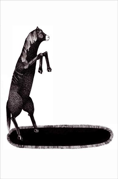 """""""Poney sur la piste"""", encre de Chine sur papier, 14 cm x 21 cm, 2009, Paris"""