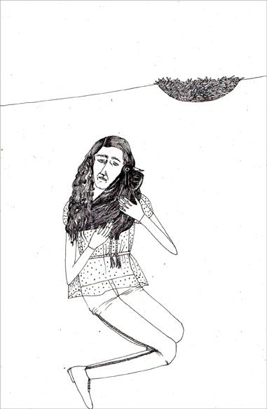 """""""Le nid passé"""", encre de Chine sur papier, 14 cm x 21 cm, 2009, Paris"""