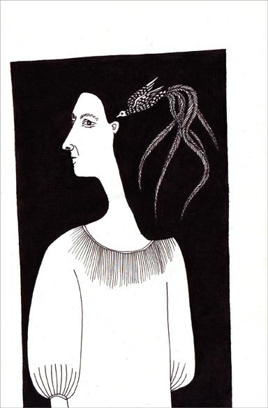 """""""Le son carré"""", encre de Chine sur papier, 14 cm x 21 cm, 2009, Paris"""