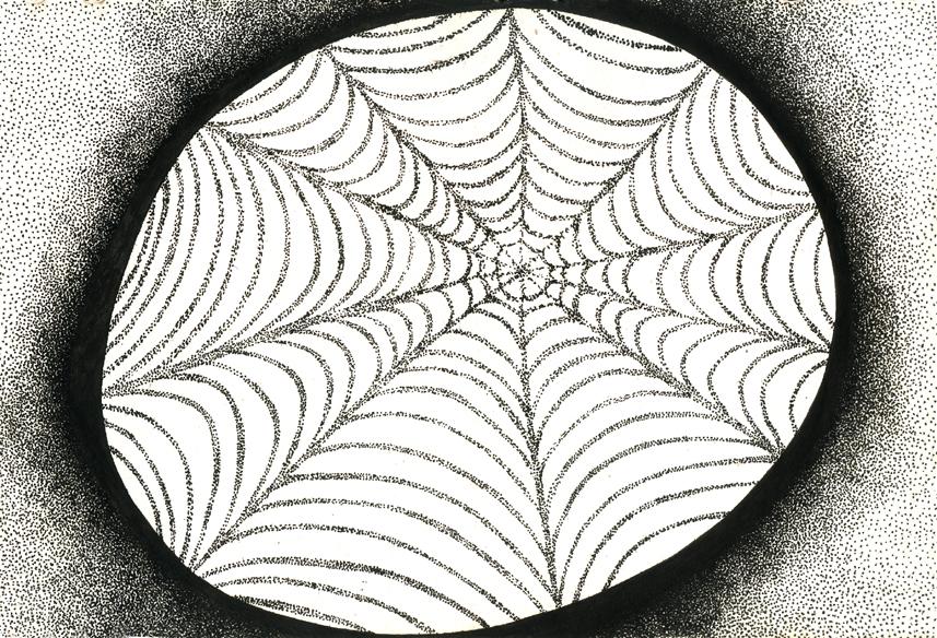 """""""L'oeil d'araignée"""", encre de Chine sur papier, 14 cm x 21 cm, 2009, Paris"""