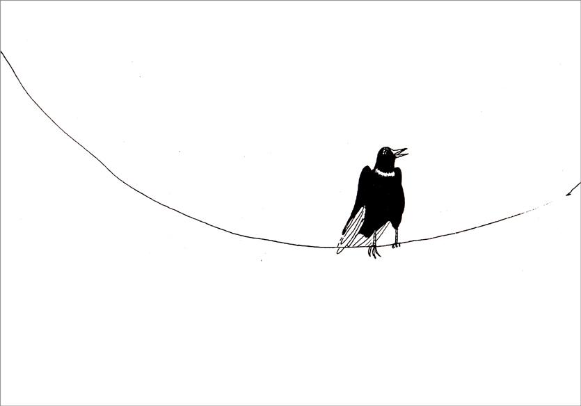 """""""Oiseau et fil"""", encre de Chine sur papier, 14 cm x 21 cm, 2009, Paris"""