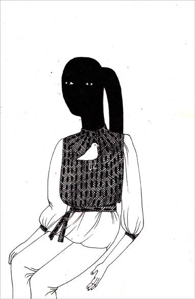 """""""White sound"""", encre de Chine sur papier, 14 cm x 21 cm, 2009, Paris"""